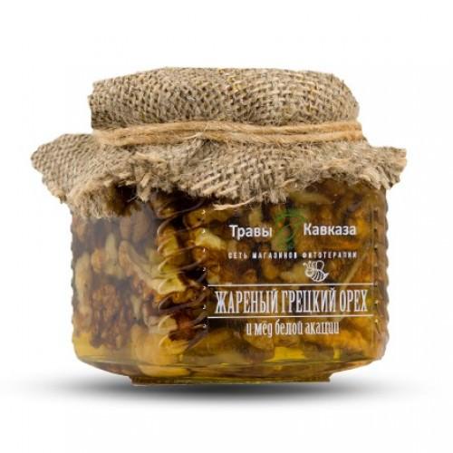 Мед акации с жареными грецкими орехами